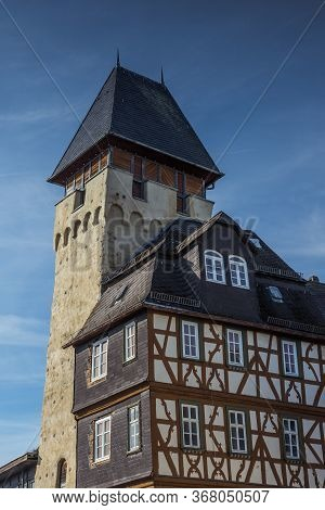 Untertorturm And Half-timbered House In Bad Camberg, Hesse, Germany