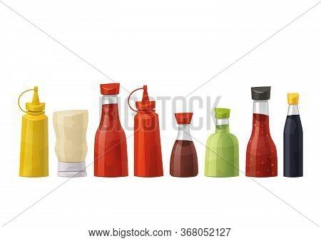 Soy Wasabi Mustard Ketchup Hot Chili Mayonnaise Soy Oyster Sauces Set Vector