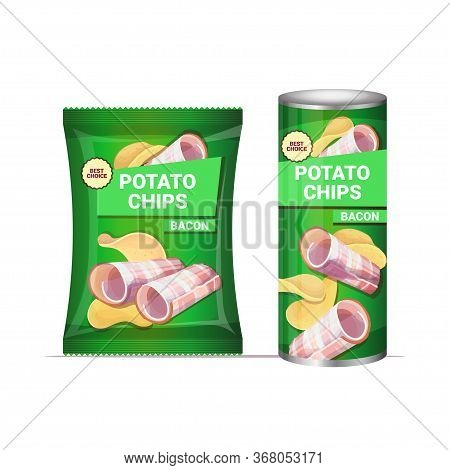 Potato Chips With Bacon Flavor Crisps Natural Potatoes And Packaging Advertising Design Template Iso