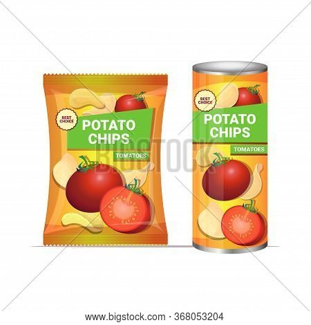 Potato Chips With Tomatoes Flavor Crisps Natural Potatoes And Packaging Advertising Design Template