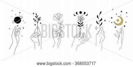 Set Of Modern Minimalistic Tattoos In Boho Design. Magical Drawing Of Hands And Flowers, Plants, Pla
