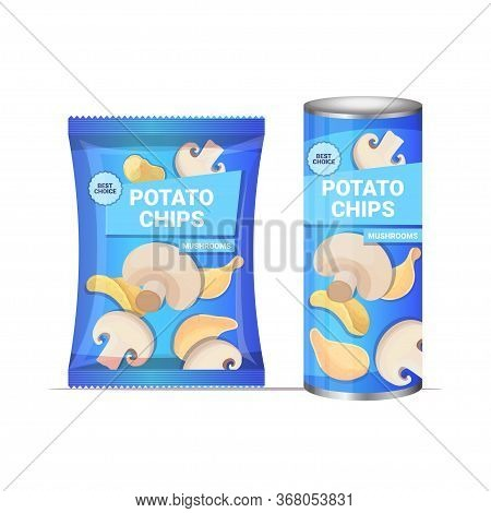 Potato Chips With Mushrooms Flavor Crisps Natural Potatoes Packaging Advertising Design Template Iso
