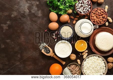 High Calcium Food. A Variety Of Products Rich In Calcium. The Concept Of Healthy Bones. Top View, Fl