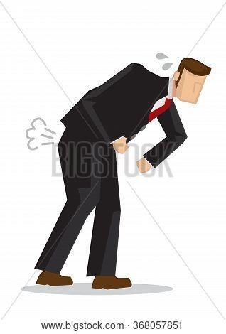 Businessman Holding His Stomach In Pain. Concept Of Stomachache Or Indigestion. Flat Isolated Vector