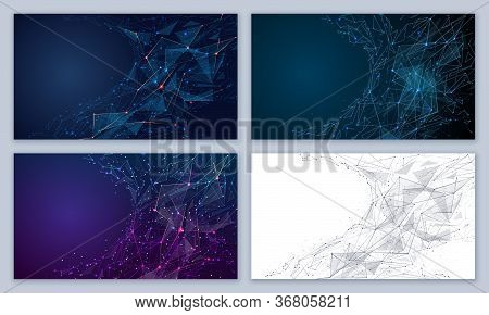 Set Of Abstract Futuristic Backgrounds From Lines, Dots, Shapes And Glowing Particles With Plexus Ef