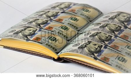 Diary With Pages Of Banknotes, One Hundred Dollar Bills, Notebook With Money, Business Diary, Profit