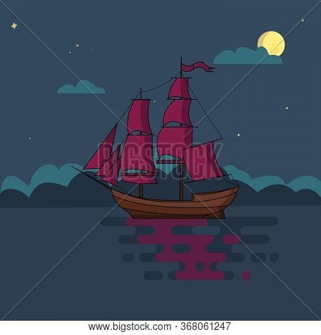 Ship With Sails Sailing In Sea At Night In Light Of Full Moon And Under Starry Sky. Poster, Print, P
