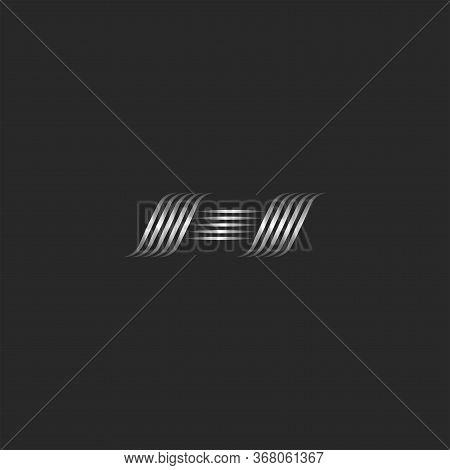 Calligraphic Script Letter H Logo Glamorous Monogram, Weaving Thin Lines Shape Emblem, Metallic Curv