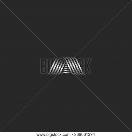 Letter A Logo Monogram, Overlapping Thin Lines Shape Script A Icon, Metallic Curved Stripes Form