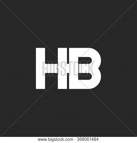 Logo Hb Initials Monogram Bold Font, Two White Overlapping Letters H And B Mark Combination On The B
