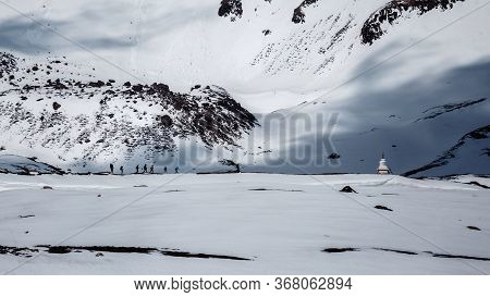 Himalayas Landscape, Annapurna Circuit Trek, High Altitude Tilicho Lake View, Group Of Tourists