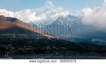 Himalayas Landscape, Annapurna Circuit Trek, High Altitude Mountain Airport In Jomsom