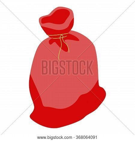 Red Textile Sack Icon. Isometric Of Red Textile Sack Vector Icon For Web Design Isolated On White Ba