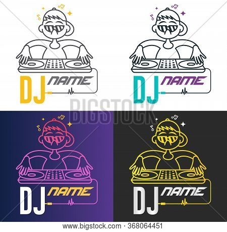 Funny Cool Vector Dj Logo. Charismatic Disc Jockey At The Turntable. Music Logotype Template. For Ac