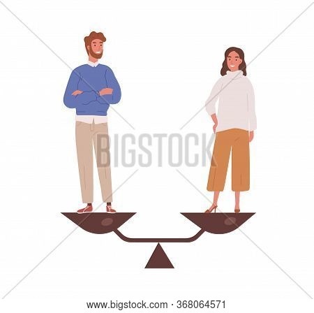 Happy Man And Woman Stand On Weighing Dishes Of Balance Scale Vector Flat Illustration. Couple Demon