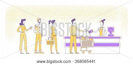 Mobile Payments At Supermarket Checkout Flat Silhouette Vector Illustration. People Standing In Queu