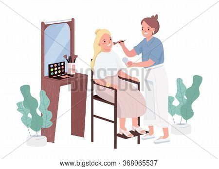 Make Up Flat Color Vector Characters. Cosmetology Treatment For Young Woman. Professional Makeup Art