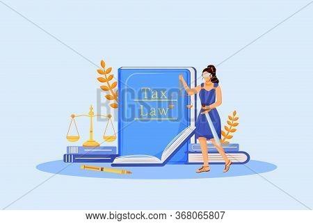 Tax Law Flat Concept Vector Illustration. Themis 2d Cartoon Character For Web Design. Economic Educa