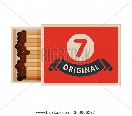 Red Opened Matchbox With Matches, Sulphur Head Match Set For Bonfire, Gas Stove, Smoking Vector Illu