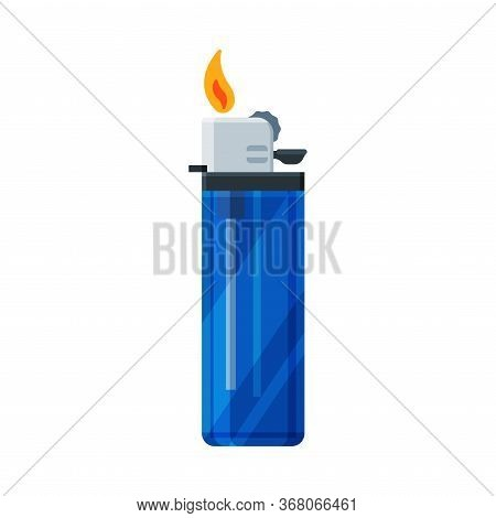 Plastic Cigarette Lighter With Fire, Flammable Smoking Equipment Vector Illustration