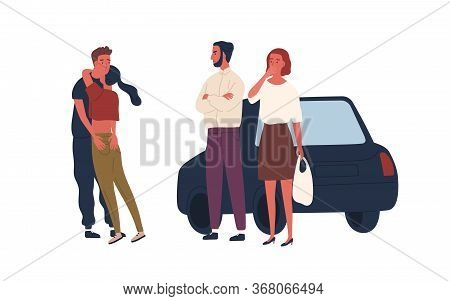 Shocked Parents See Teenage Couple Hugging Vector Flat Illustration. Surprised Mother And Father Loo