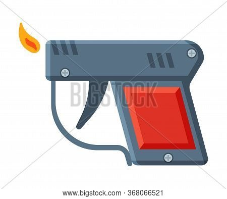Pistol Shape Cigarette Lighter With Fire, Flammable Smoking Equipment Vector Illustration