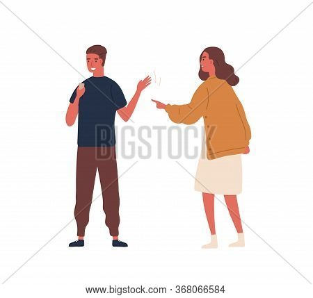 Smiling Teen Guy Ignored Angry Mother Looking At Smartphone Vector Flat Illustration. Irritated Woma