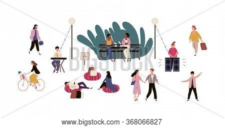 Happy People Relaxing At Outdoor Cafe Vector Flat Illustration. Colorful Man, Woman, Couple Talking