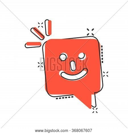 Happy Sms Icon In Comic Style. Message Speech Bubble Cartoon Vector Illustration On White Isolated B