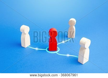A Person Mediator Makes Contact Between People. Mediation. Doing Business Through An Experienced Neg