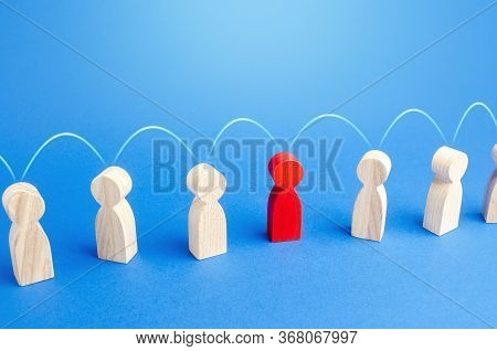 People Are Connected By Connection Links. Communication Information Exchange. Chain Reaction In Soci