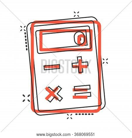 Calculator Icon In Comic Style. Calculate Cartoon Vector Illustration On White Isolated Background.