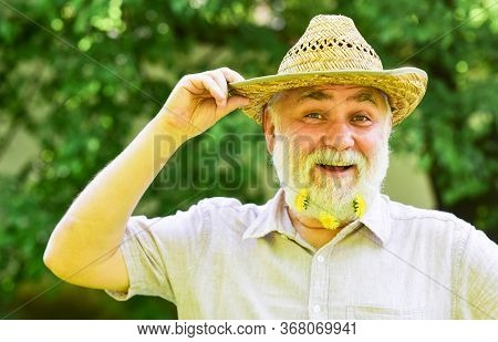 Used To Be Cowboy. Man Unshaven Smiling Face. Farm Concept. Living In Countryside. Guy Bearded Cowbo