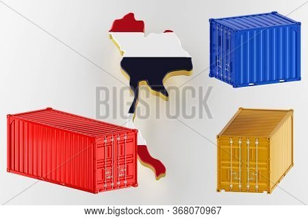 Thailand Map Image With Flag. Freight Shipping In Containers. Export From The Country In Containers.