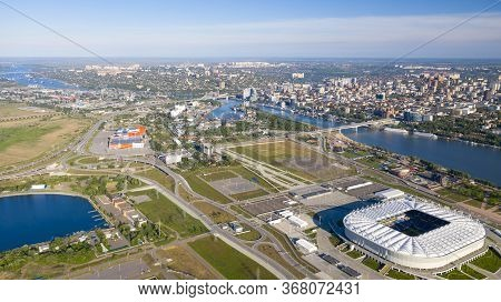 Russia, Rostov-on-don, May 25, 2020: Panoramic View Of The Central Part Of Rostov-on-don. Stadium, A