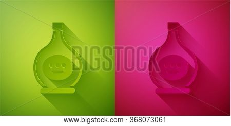 Paper Cut Bottle Of Cognac Or Brandy Icon Isolated On Green And Pink Background. Paper Art Style. Ve