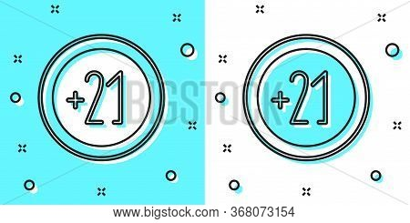 Black Line Alcohol 21 Plus Icon Isolated On Green And White Background. Prohibiting Alcohol Beverage