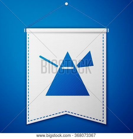 Blue Light Rays In Prism Icon Isolated On Blue Background. Ray Rainbow Spectrum Dispersion Optical E