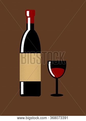 Vintage Retro Design Of Wine Bottle With Blank Label And Wine Glass With Liquid Over Brown Backgroun