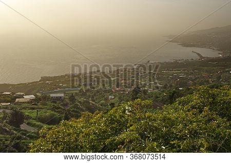 View To Santa Cruz And Atlantic Ocean From Hillside Above. La Palma, Canary Islands
