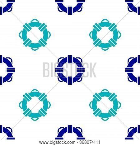 Blue Lifebuoy Icon Isolated Seamless Pattern On White Background. Lifebelt Symbol. Vector Illustrati