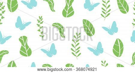 Abstract Seamless Pattern From Leaves, Plants And Butterflies. Ecological Concept. Isolated On A Whi