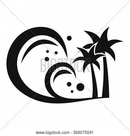 Island Tsunami Icon. Simple Illustration Of Island Tsunami Vector Icon For Web Design Isolated On Wh