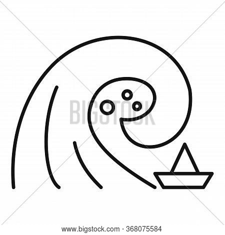 Island Tsunami Icon. Outline Island Tsunami Vector Icon For Web Design Isolated On White Background