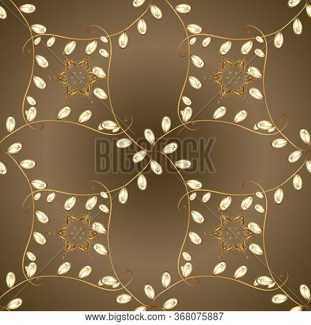 Ornate Vector Decoration. Luxury, Royal And Victorian Concept. Golden Element On Brown And Beige Col