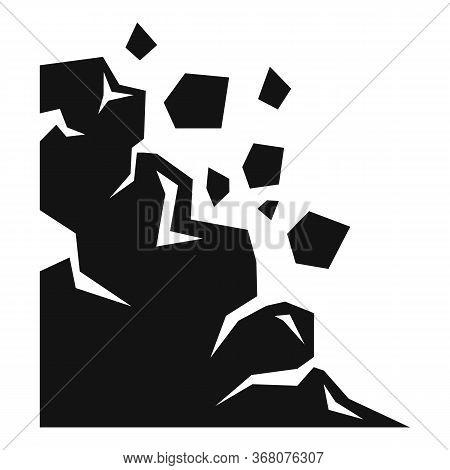 Seismic Landslide Icon. Simple Illustration Of Seismic Landslide Vector Icon For Web Design Isolated