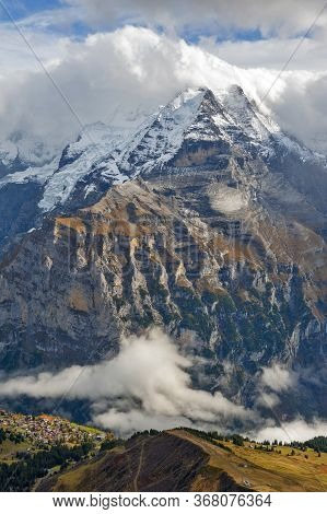 Scenic View Of The Jungfrau, One Of The Main Summits Of The Bernese Alps In Switzerland, Seen From L