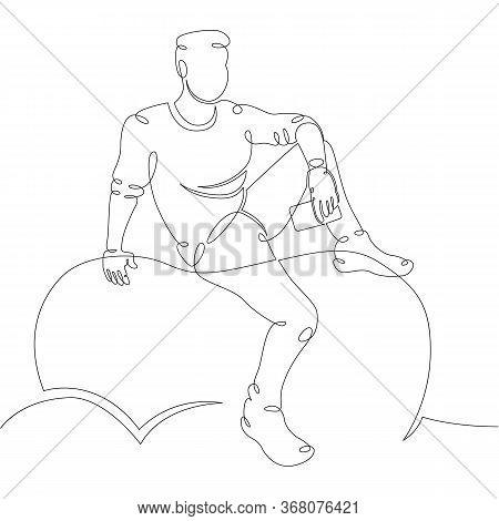 One Continuous Drawing Line Thinker Sitting On A Stone. Young Man Meditates With A Phone .single Han