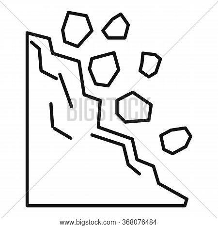 Road Landslide Icon. Outline Road Landslide Vector Icon For Web Design Isolated On White Background