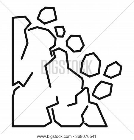 Accident Landslide Icon. Outline Accident Landslide Vector Icon For Web Design Isolated On White Bac